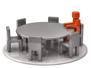 Man at a round table