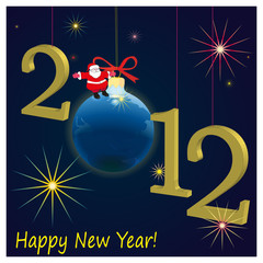 2012 New Year symbols  with Santa Claus and dark-blue background
