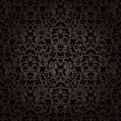 Seamless Damask Pattern Black/Brown