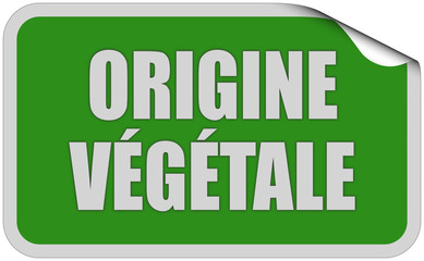 Sticker grün eckig curl oben ORIGINE VEGETALE