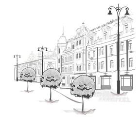 Foto op Canvas Illustratie Parijs Series of streets in the city in sketches