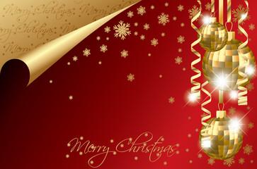 Christmas banner with golden balls