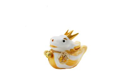 可愛い 白と金色 辰の人形