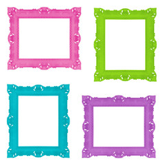 Set of colorful ornamental frames
