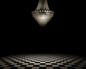 Fototapete - Grunge empty interior with checkered marble floor