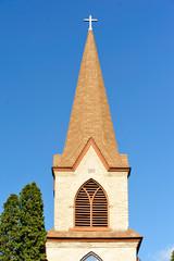 Church Steeple-  Blue Sky Background - Crystal Lake, Wisconsin