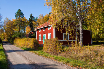 Red idyllic cottage in Sweden.