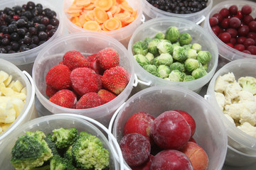 Frozen fruits and vegetables in plastic containers