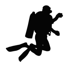 Sport Silhouette – Scuba Diver Taking Under Water Picture
