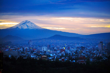 Night View of Mexico City Mountain