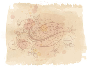 Floral ornament & watercolor vintage background