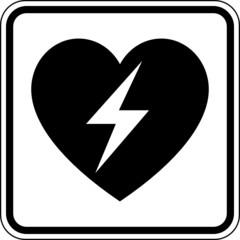 Herz Blitz Herzkrank Defibrillator Schild Zeichen Symbol