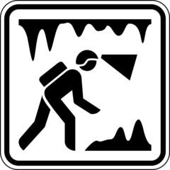 Höhlenforschung Tropfsteinhöhle Bergwerk Schild Zeichen Symbol