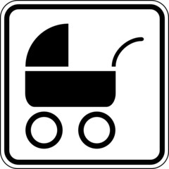 Fototapete - Kinderwagen Familie Baby Schild Zeichen Symbol