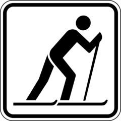 Fototapete - Ski laufen Langlauf Skifahrer Schild Zeichen Symbol Sport