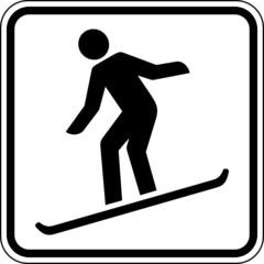 Fototapete - Snowboard fahren Wintersport Schild Zeichen Symbol