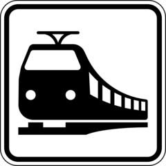 Fototapete - Zug Bahn Schienenverkehr Schild Zeichen Symbol