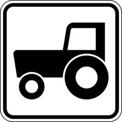 Fototapete - Traktor Zugmaschine Schild Zeichen Symbol
