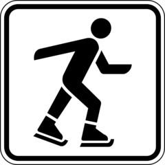 Fototapete - Eislaufen Schlittschuh fahren Schild Zeichen Symbol