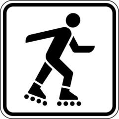 Fototapete - Inliner fahren Inlineskaten Schild Zeichen Symbol