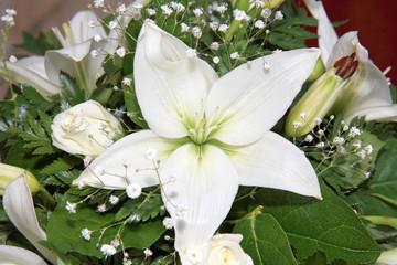white flower on a wedding decoration indoor