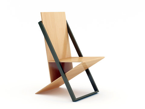 Modern wood chair on white background