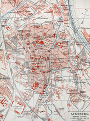 Vintage map of Augsburg