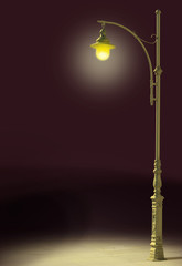 streetlamp shines in the darkness
