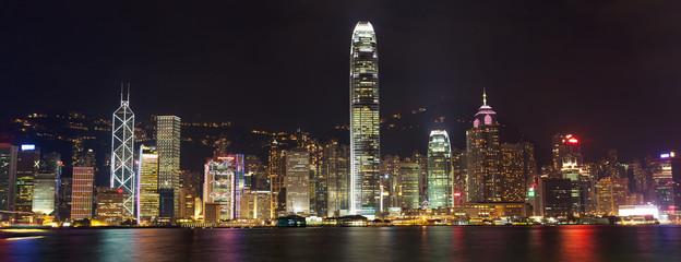 Hong Kong Island panorama at night