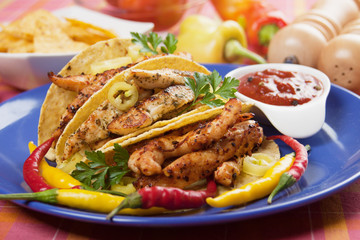 Grilled chicken meat in taco shells