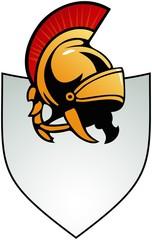 Shield shaped border with Roman helmet