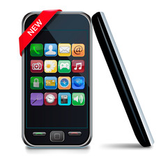 Modern touch-screen mobile phone with a NEW sign. Vector