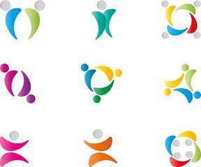 Menschen, Logos, Zeichen, Symbole, Design, Elements