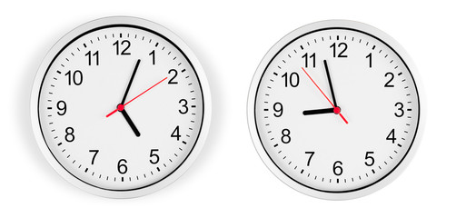 Classic clock on wall isolated with clipping path included