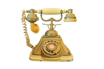 Old vintage telephone isolated on white