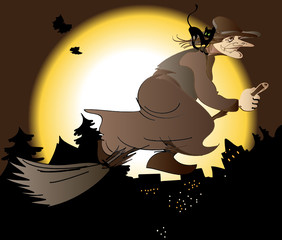 The old witch on a broomstick flying  over the city at night