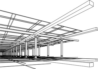 Abstract modern architecture design in vector wire-frame