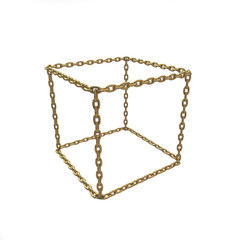 gold cube of the chains on a white background