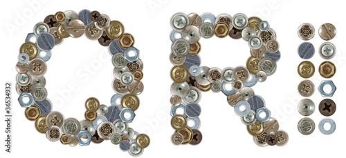 Characters Q and R made of nuts and bolts head