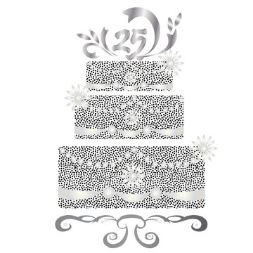 25 years celebration cake vector