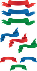 Red, Blue and Green Banners
