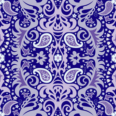 Ornamental seamless floral pattern in blue