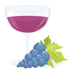 glass of wine and a brush of grapes