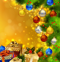 Christmas background with deferent  gifts and green fir tree