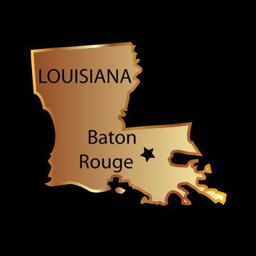 Gold louisiana state map