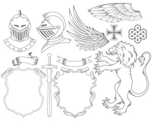 Set of knight heraldic elements