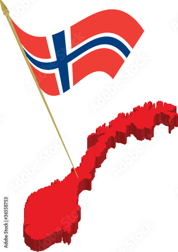 Norway D Map And Waving Flag Stock Image And Royaltyfree Vector - Norway map clipart