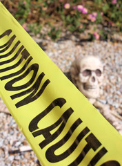 Skeleton and Caution Tape