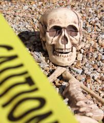 Skeleton Behind Caution Tape