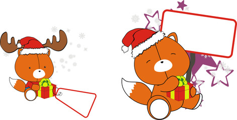 fox baby cartoon xmas sticker